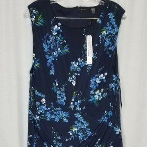 NEW Tahari Blue Floral Sleeveless Dress 22W NWT